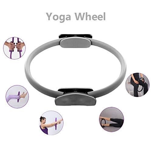 GJJSZ Yoga Ruote Anello di Pilates Anelli Fitness Doppio Grip Cerchi magici Canestro da Yoga per tonificare Il Movimento e rafforzare-Viola/Grigio