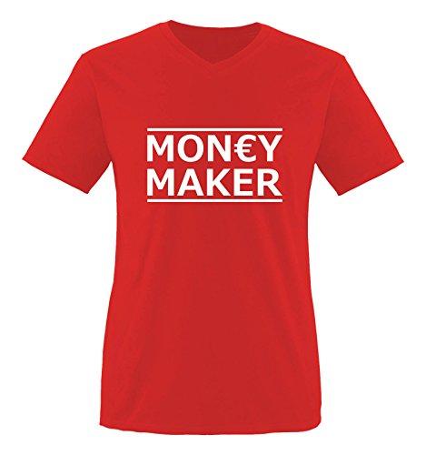 Comedy Shirts - Money Maker - Herren V-Neck T-Shirt - Rot/Weiss Gr. XXL