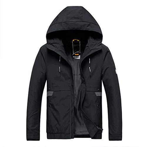 MAYOGO Herren Regenjacke Herren Light Langarm Jacke Windbreaker Coole Jacke Mit Kapuzen Streetwear Freizeitjacke mit Reißverschluss (Schwarz, XXXXL)