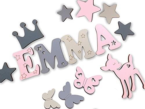 7cm Holzbuchstaben, Türbuchstaben, Kinderzimmer I Tolle Farbkombinationen Jungen Mädchen I Inkl. 2 Sternen sowie Klebepads I Geschenk I Geburtsgeschenk I Taufgeschenk I Kinderzimmerdekoration