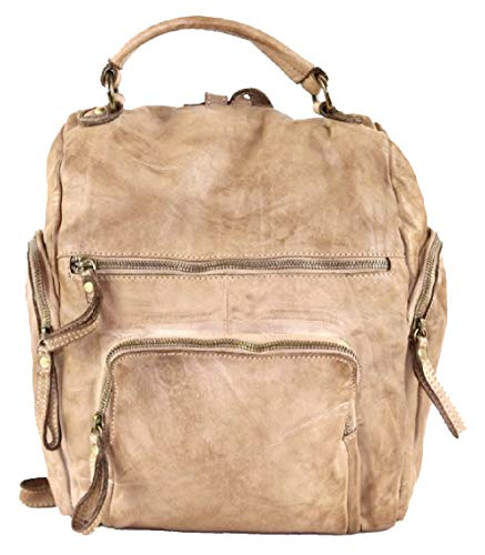 BZNA Bag Stella helles beige Backpacker Designer Rucksack Damenhandtasche Schultertasche Leder Nappa sheep ItalyNeu