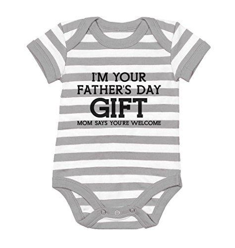 Tstars 'I'm Your Mom Says Welcome' - Funny Cute Baby Bodysuit Newborn Gray/White