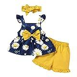jieGorge Oberteile & Hosen Set, Kleinkind Baby Mädchen Ärmellose Sonnenblumenmuster Hosenträger Oberteile + Shorts Outfits, Babykleidung Sales Navy 12-18 M.