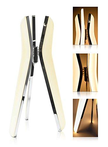 LED Universum Lampe de table LED Triilo - 3 ampoules en aluminium - Aspect chromé brillant et plastique opale - 16 W - Blanc chaud (3000 K) - 40 x 21 x 21 cm
