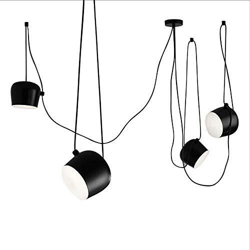 Moderne Pendelleuchte Schwarz, LED 12w Deckenleuchte Aluminium Lampenschirm Einstellbar Pendelleuchte Lüster deckenleuchte Kreativ Schlafzimmer Wohnzimmer Hängeleuchte-4-Lights 18cm