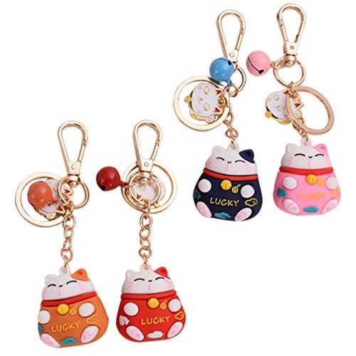 Amosfun 4 llaveros con colgante de gato de la suerte, gato de la suerte, decoración para mujeres y niñas, accesorios de joyería, rojo, rosa, azul, naranja