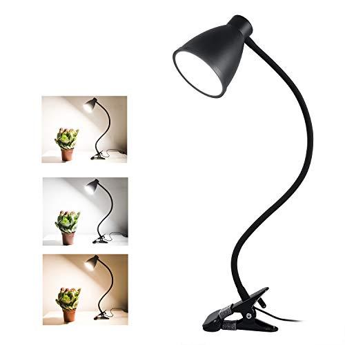 38 LED Klemmleuchte Leselampe, 3-Stufen Farbtemperatur, 10 Helligkeit dimmbar, Augenschutz Schreibtischlampe für Kinder, 360 ° Flexibler Schwanenhals Clip Tischlampe