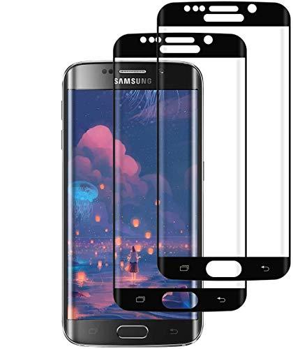 SNUNGPHIR 2 Pezzi Copertura Totale Vetro Temperato Pellicola Protettiva per Samsung Galaxy S6 Edge, Copertura Completa Protezione Schermo Samsung Galaxy S6 Edge Full Screen Screen Protector Nero