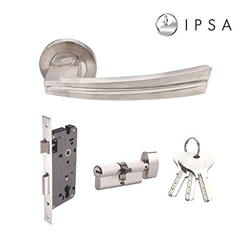 IPSA OR1 SS304 Solid Stainless Steel Mortise Handle Rosette Lockset with One Side Knob and Key Cylinder and Lock Body