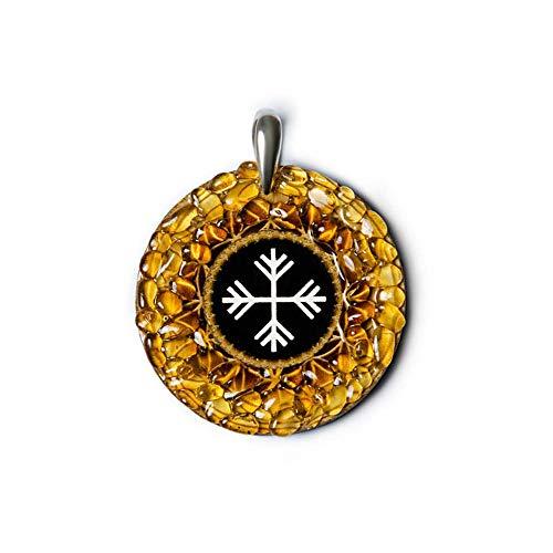 Anhänger Wind - 925 Sterling Silber Bernstein Amulett Talisman - Veränderung Rad des Lebens
