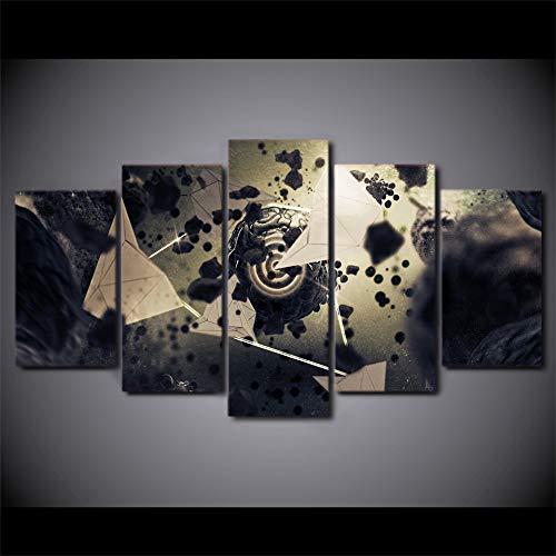 WJDJT Wohnkultur Modular Kunstwerk Drucken 5 Panele Drucke Auf Leinwand Psychedelische Weltraumlandschaft Poster Bilder Wandkunst Für Wohnzimmer Wanddekoration Design Wand Bild