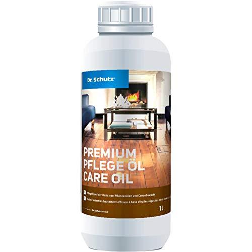 Dr. Schutz Premium-Pflege Öl 1 L farblos | Bodenpflege für geölte Holzböden und Parkettböden, Korkböden und OSB-Platten | Auffrischung und Pflege aller ölbehandelten Holzoberflächen und Holzböden