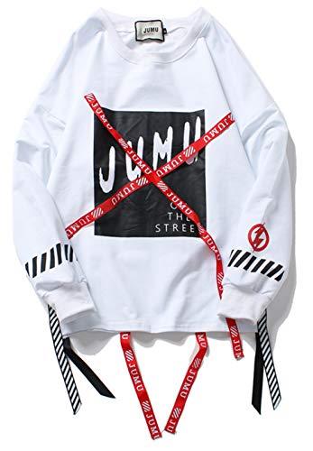 PIZOFF Unisex Hip-Hop Coole Sweatshirts - Langarm Training Oversized Übergroß Straße Stil Band Design,Aa057-white,L