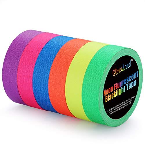 Neon Klebeband [Größere Größe] Neon Gaffa Tape, UV aktiv Tape, Fluoreszierendes, Leuchtband, 6 Farben, 25MM*15M Pro Rolle für Halloween