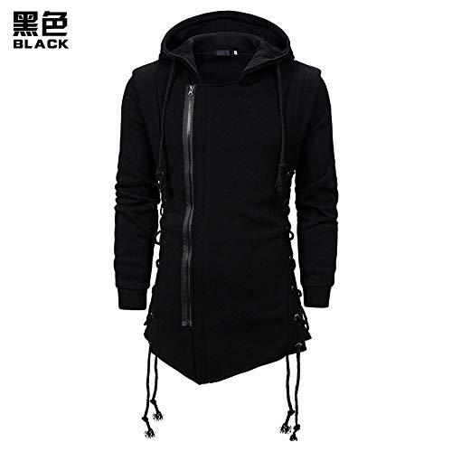 Sudaderas Hombre Assassin Creed Sweatercoat Dark Tie Slim Fit Abrigo con Capucha Cremallera Sudaderas con Capucha con Amarre Lateral Sudaderas Cruzadas Hombres Negro XL