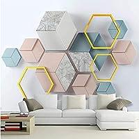 Iusasdz モダンな3Dステレオ幾何学的大理石の壁紙リビングルームテレビソファ寝室家の装飾壁の壁3Dクリエイティブ壁紙-120X100Cm