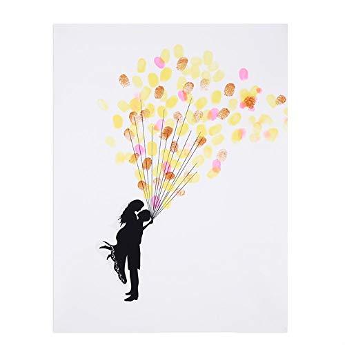 Arbre à Empreinte Mariage Tableau de Signature Arbre Livres d'or Mariage Scrapbooking Bricolage avec 6 Couleurs Encreurs Tampon (3# A Bouquet of Ballon)