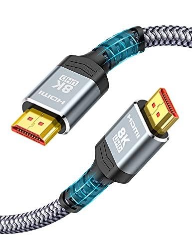 Kurz 0.5m HDMI 2.1 Kabel 8K, Snowkids 48Gbps HDMI 2.1 Geflochtenes Kabel-4K bei 120Hz 7680P, DTS: X, HDCP 2.2 & 2.3, HDR 10, eARC, Dynamisches HDR, kompatibler Projektormonitor PS5/4/3