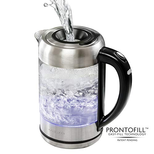 Ovente Electric Hot Water Glass Kettle 1.7 Liter with ProntoFill Technology The Easy Fill Solution, Halo LED Light, BPA-Free, 1500 Watts Perfect for Tea, Coffee, Hot Beverage Silver (KG612S)