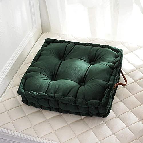 Cojines para silla de interior para sofá, acolchado, suave, lavable, almohada de tatami, meditación, cómodo, acolchado, cojín para el suelo, color verde oscuro, 42 x 42 cm