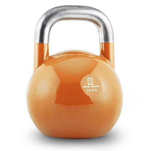 Capital Sports Compket Competition Kettlebell Peso Sfera in Acciaio (Arancione, 28 kg)