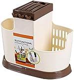Cuchillo soporte de palitos de drenaje rack de múltiples funciones de los palillos de utensilios de cocina de plástico de acabado palillos jaula de almacenamiento palillos jaula Portacuchillas Blanca