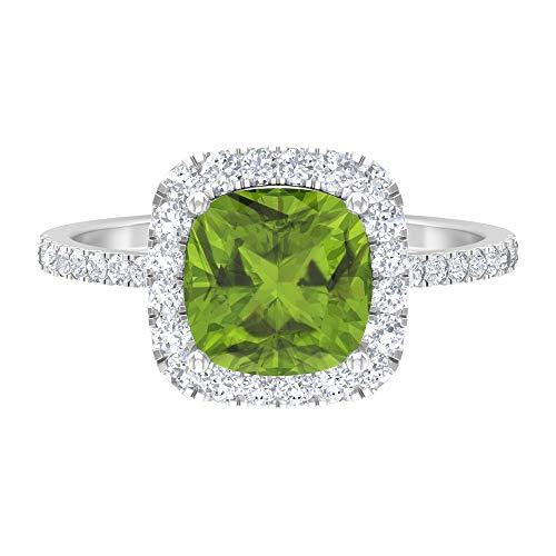 Rosec Jewels 14 quilates oro blanco cojín Round Brilliant Green Peridoto/Olivino Moissanite