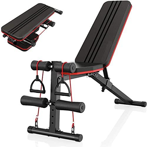 Banco de pesas, banco de ejercicios multifuncional plegable, ajuste de altura de seis niveles, carga máxima de 150 kg, dos cinturones de entrenamiento