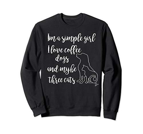 lustiges Katzenoberteil Ich liebe Kaffee Hunde und 3 Katzen Sweatshirt