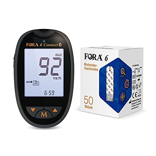 FORA Multifunctional blutzuckermessgeräte Starter-Set, Datenübertragung per Bluetooth 4.0, Ketone check und Cholesterin