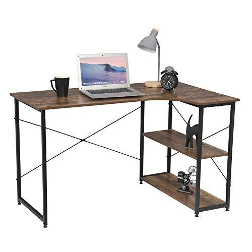 eSituro Muebles de Oficina de PC Trabajo de Madera y Acero, con Dos Estante, Aprox. 120 x 74 x 71.5 cm El Diseño Industrial SCD0077