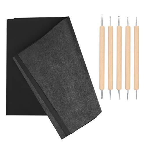 100 Blätter Carbon Papier Schwarz, Kohlenstoff Überweisungs Papier, Kohlepapier A4, Graphitpapier, Transferpapier Pauspapier, Durchschreibepapier mit Prägestift Embossing für Zeichnung, Skizzierung