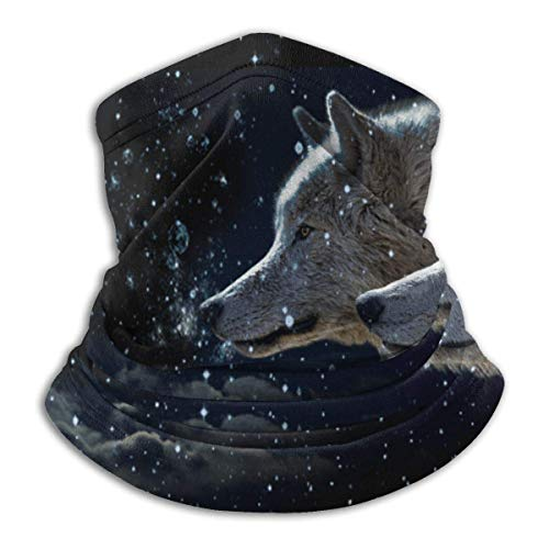 Lawenp Two Galaxy Wolf Seamless Bandanas Face Scarf Headband Scarf Headwrap Neckwarmer for Outdoors Sports Black