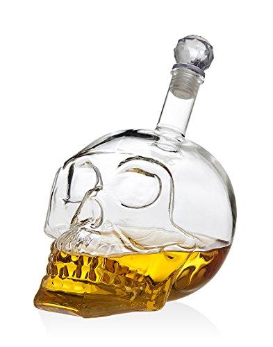 Klikel Skull Head Skeleton Whiskey Liquor Vodka Clear Crystal Decanter Barware 700 ml