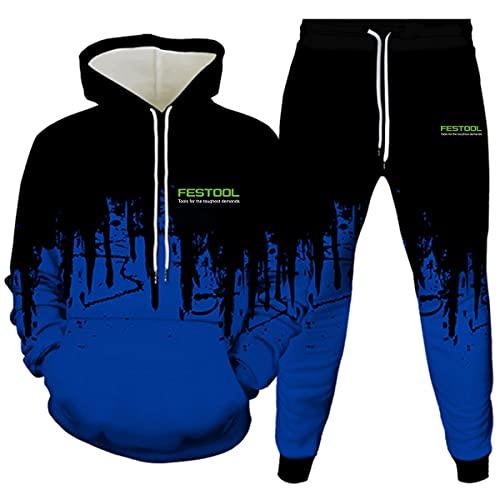 Woakzhe fe.st-o.ol - Sudadera con capucha para hombre con impresión 3D para Halloween, color azul, talla XXX-Large
