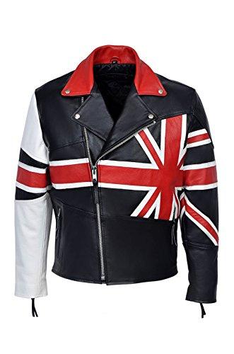 Smart Range - Brando Union Jack British Flag Moto Biker Hide Réel Cuir Veste - Homme - Taille : 2XL - Couleur : Noir