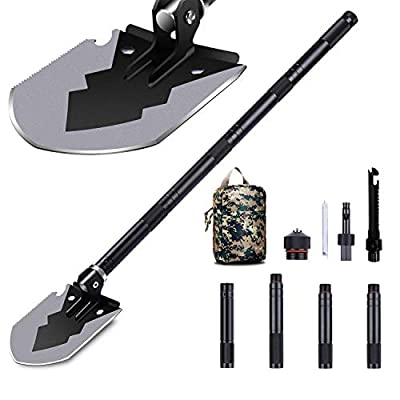 "1DOT2 Military Folding Shovel, 14-35.5"" Tactical Multitool Portable Survival Camping Shovels with Carry Bag Ultra Durable Entrenching Tool for Outdoor, Digging, Hunting, Backpacking Black from 1DOT2"