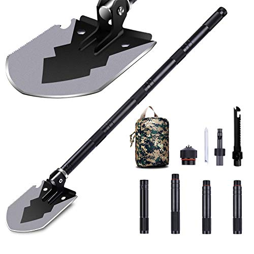 1DOT2 Military Folding Shovel, 14-35.5' Tactical Multitool Portable Survival Camping Shovels with Carry Bag Ultra Durable Entrenching Tool for Outdoor, Digging, Hunting, Backpacking Black