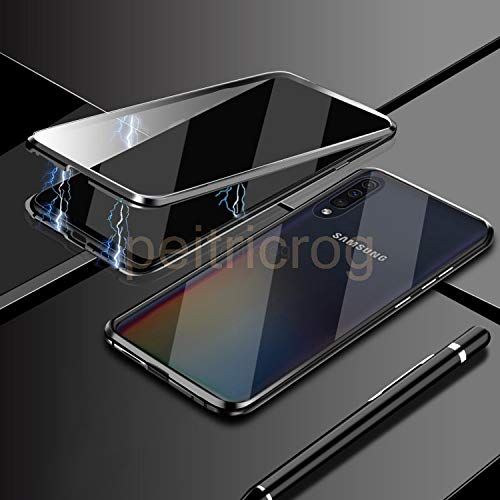 Metal Case for Samsung Galaxy Note 10 Pro 8 9 S20 S10 S9 S8 Plus A51 A71 A50 A70 A10 A20 A30 Double Side Glass Cover-Black-for Samsung A71