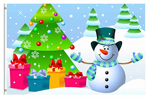 LAKILAN Snowman Merry Christmas Tree Gift Snow Winter Happy New Year Seasonal Garden Flag 3'X5',Breeze Flag,Decorative Flag,Indoor/Outdoor Wall Banners,Polyester Flag,Yard Banner