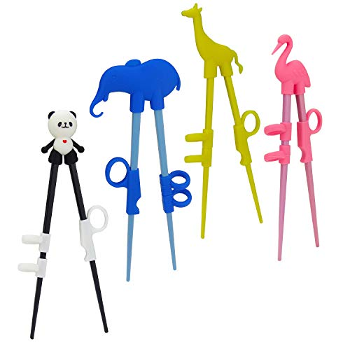 Plum Garden 4 pcs learning chopstick helper, Children's Training Chopsticks, Animals Chopsticks for childrens beginners