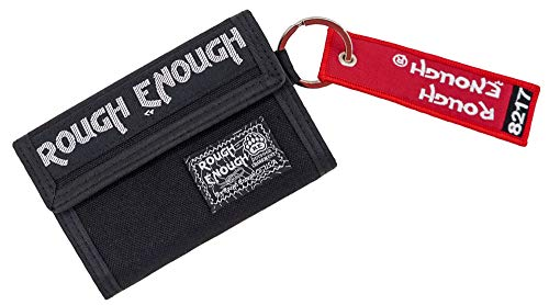 Rough Enough Black Tactical Keychain Card Wallet for Men Women Teen Boys Girls Large Coin Purse Pouch with Zipper Pockets Thanksgiving Christmas Gifts for Teenage Casual Classic Outdoor Urban Durable