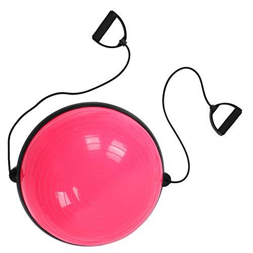 Pelota de entrenamiento de yoga, pelota de entrenamiento de yoga antideslizante con correas, equilibrio de fitness, pelota de entrenamiento de media pelota, yoga para entrenamiento central(rosado)