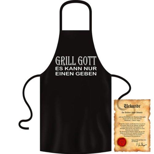 bedruckte Fun Grill Schürze - Motiv: Grill Gott - es kann nur einen geben - Kochschürze Weihnachten Advent Nikolaus Küche