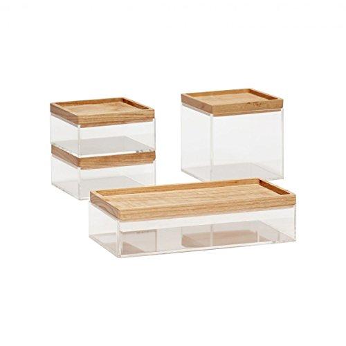 Hubsch - Lot de 4 casiers de rangement de bureau en acrylique transparent - Avec couvercle en bois