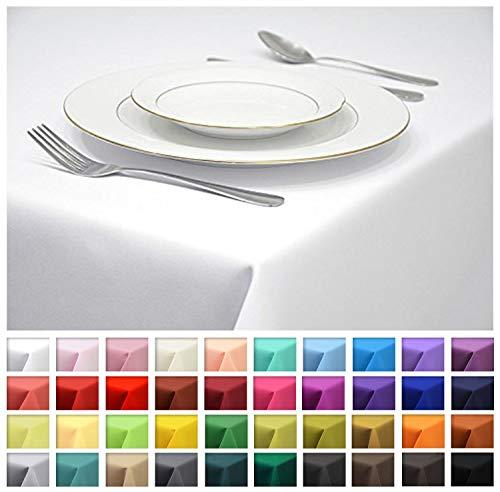 Rollmayer Tischdecke Tischtuch Tischläufer Tischwäsche Gastronomie Kollektion Vivid (Weiß 1, 140x260cm) Uni einfarbig pflegeleicht waschbar 40 Farben