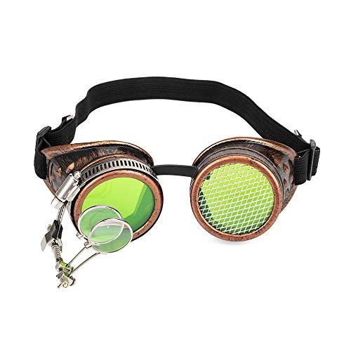 Gafas estilo vintage Steampunk para cosplay, caleidoscopio, gafas de lupa ocular, accesorio de disfraz