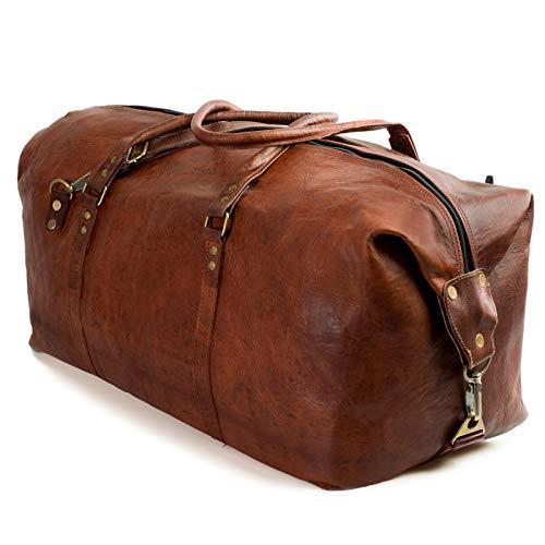 NAMA'James' Weekender Echtes Leder Reisetasche Vintage Retro Sporttasche 60 cm 45 Liter für Damen und Herren Duffle Bag Schultertasche Naturleder Braun