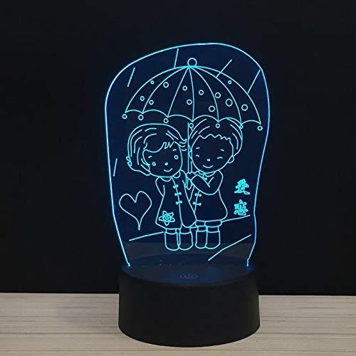 LED Liebe im Regen unter Regenschirm Hand in Hand für immer 3D LED Nachtlicht USB Tischlampe Kinder Geburtstagsgeschenk Nachtdekoration am Bett