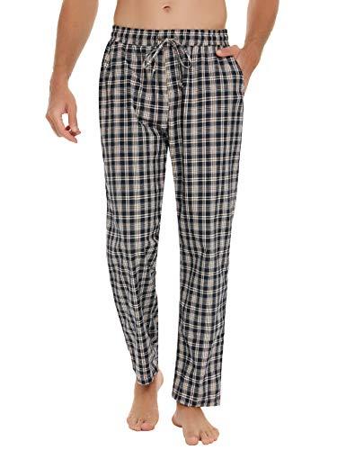 Hawiton Herren Schlafanzughose Lang Kariert Pyjamahose Freizeithose Loungewear Nachtwäsche Sleep Hose Pants aus 100% Baumwolle Blau++Weiß+Orange L